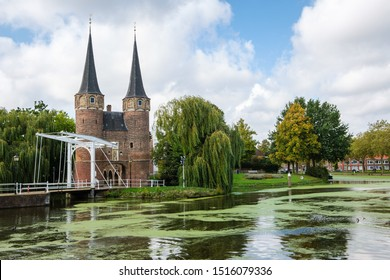 Historical Eastern Gate and drawbridge over the canal in Delft, Netherlands. This gate build around 1400, is the only remaining city gate of Delft.
