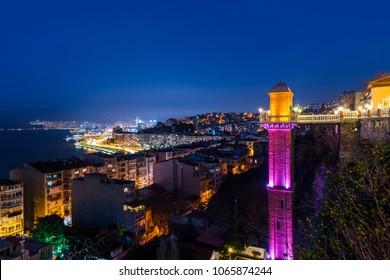 The Historical Elevator in Konak District, IZMIR, TURKEY. Beautiful night view of Izmir with Historical Elevator.