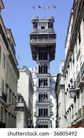 Historical elevator (lift) on the street in Lisbon in Portugal