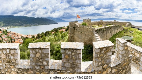 The historical fortress of Tsar Samuel on the hill top in Ohrid, Macedonia
