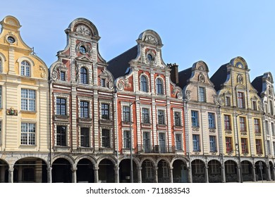 Historical gables of houses on the Grand Place in Arras, France