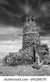 The historical Grand Canyon Old Desert View Watchtower in Arizona,USA black and white
