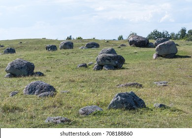 Historical grave field at the island Oland in Sweden