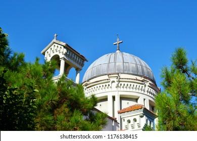 Historical Greek Orthodox Aya Yani (Hagios Ioannis Prodromos) Church on Burgazada, the third largest of the Princes' Islands in the Sea of Marmara, near Istanbul, Turkey. Built in 1899.