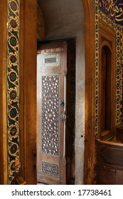 Historical hand crafted wooden door and entrance of an Ottoman tomb in Istanbul, Turkey. Suleiman the Magnificent.