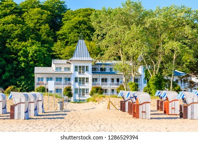 Historical holiday villas on beach in coastal holiday resort of Binz, Rugen island, Baltic Sea, Germany