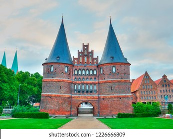 Historical Holstentor City Gate. Famous place in Lubeck. Germany