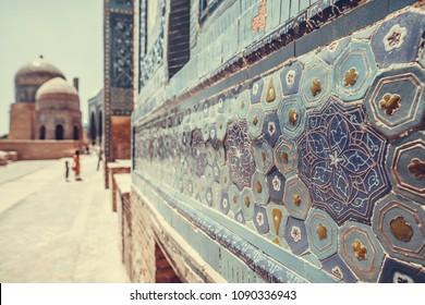Historical holy cemetery of Shahi Zinda in Samarkand, Uzbekistan.