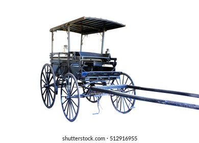 Historical horse drawn buggy isolated on a white background