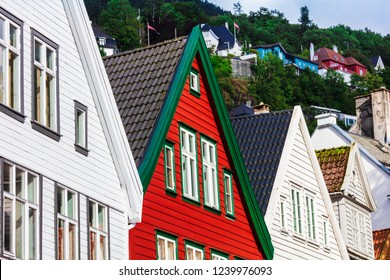 Historical houses of Bergen city in Norway.