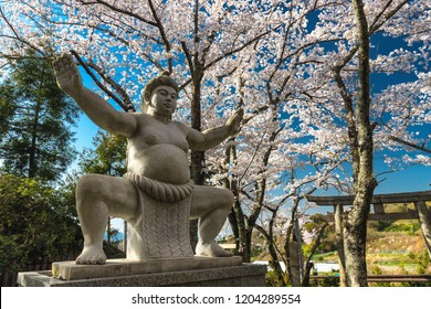 Historical Japanese Sumo shrine statue located in the Yamanobe no Michi trail in the Kansai province, Japan