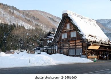 Historical Japanese Villages , Shirakawa-go in winter at  japan