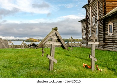 Historical Kizhi church grave-yard in Kizhi, UNESCO world heritage site, Onega lake, Karelia, Russian north-west