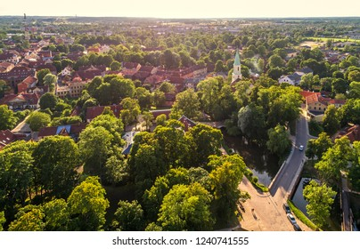 Historical Kuldiga town in Latvia from above, drone photography