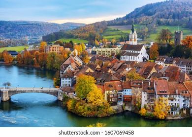 Historical Laufenburg Old town on Rhine river, Aargau canton, Switzerland