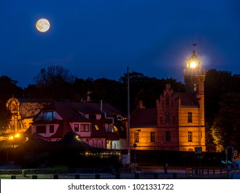 Historical Lighthouse in Ustka by night, located at the Baltic Sea coast, Poland