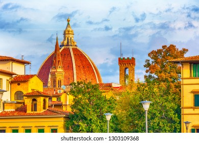 historical medieval buildings with Duomo Santa Maria Del Fiore dome in old town of Florence, Italy
