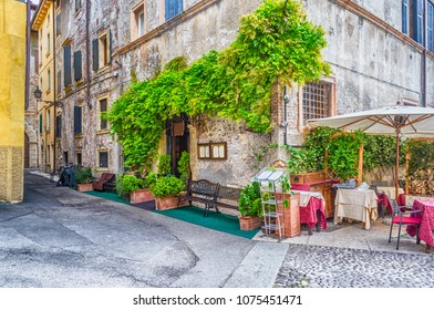 Historical medieval buildings in the old city center of Verona, Italy