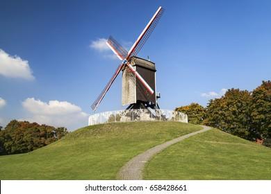 Historical Mill of Sint-Janshuis in Bruges, Belgium.