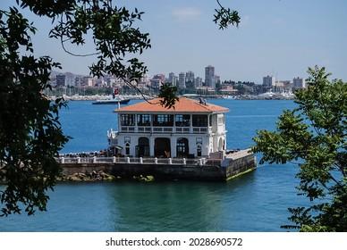 Historical Moda Pier building jutting out into the Sea of Marmara in Kadikoy neighborhood of Istanbul