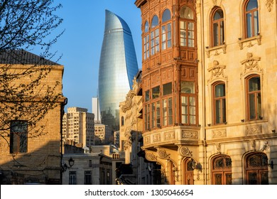Historical and modern buildings in Baku Old town, Azerbaijan