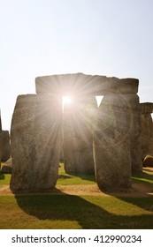 Historical monument Stonehenge in sunset