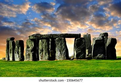 Historical monument Stonehenge in the sunset,England, UK