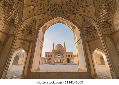 A historical mosque in Kashan, Iran. The mosque was built in the late 18th century by master-mimar Ustad Haj Sa'ban-ali. Property release is not needed for this public place.