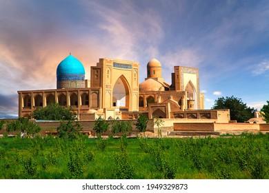 Historical mosque and religious complex of Chor Bakr at the sunrise, Bukhara, Uzbekistan.