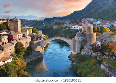 Historical Mostar Bridge known also as Stari Most or Old Bridge in Mostar, Bosnia and Herzegovina - Shutterstock ID 1928195651