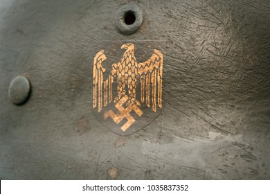 Historical Nazi symbols on the helmet of a soldier from the Wehrmacht during the Second World War