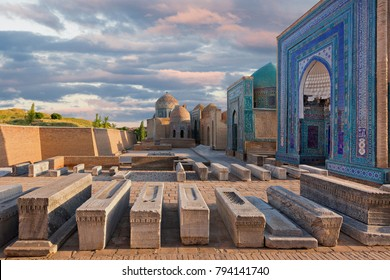 Historical necropolis of Shakhi Zinda at the sunset, Samarkand, Uzbekistan.
