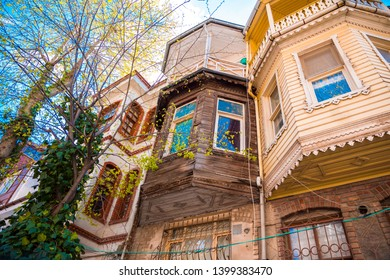 Historical, Old, Colorful Houses in Kuzguncuk, Istanbul, Turkey. Detail scenic view of colorful houses in Istanbul Streets.