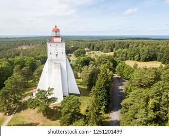 Historical old Kõpu lighthouse (Kopu lighthouse), Hiiumaa island, Estonia aerial drone photo. Birds eye view.