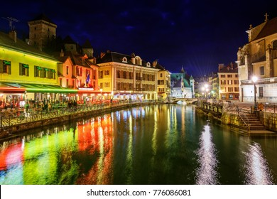 Historical Old Town of Annecy, France, illuminated at night
