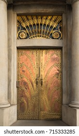 Historical Ornate Metal Door in a Stone Entry with Columns, Prague, The Czech Republic, Europe