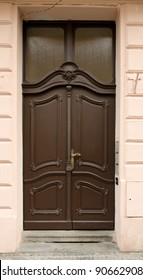Historical Ornate Wooden Door with Glass Panes, Prague, The Czech Republic