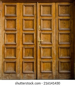 Historical Ornate Wooden Door, Prague, The Czech Republic