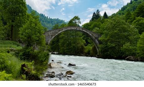 Historical Ottoman bridge Taskopru in Senyuva, Cinciva in Armenian, over the Firtina river near Camlihemsin in Rize province at the eastern end of Turkey