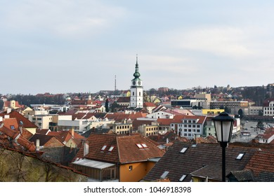 historical panorama of the city center of Trebic, Czech Republic