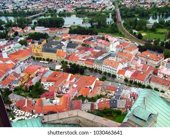 historical panorama of the city center of Trencin, Slovakia