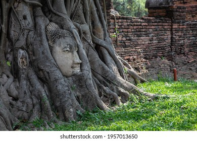 Historical Park A historical park in Ayutthaya, old city of Thailand  The old Buddha statue  - Shutterstock ID 1957013650