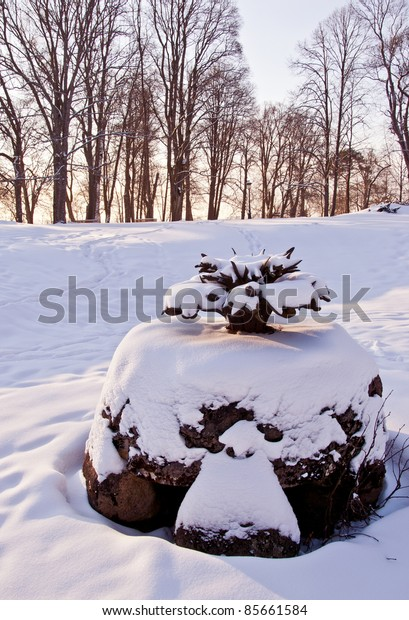historical park fountain  and winter morning snow