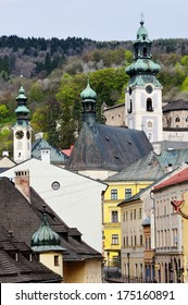 The historical part of the town of Banska Stiavnica, Slovakia