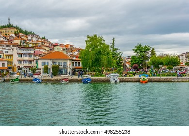 historical part of unesco listed town ohrid is located next to the ohrid lake and spread all over the hill with fortress of tzar samuel at the top.