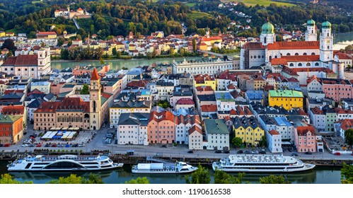 Historical Passau Old Town situated between Danube and Inn rivers, Germany, is a popular river cruise destination in central Europe