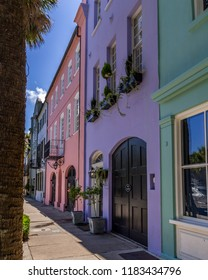 Historical Pastel Colored Houses on Rainbow Row in Charleston, South Carolina