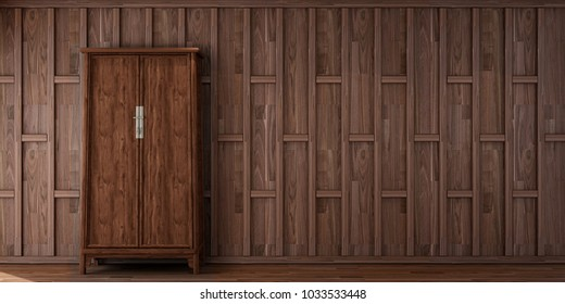 historical period drama scene,interior design in Thai style with wooden cap wall pattern and Thai cabinet on  wooden floor  ,3d illustration