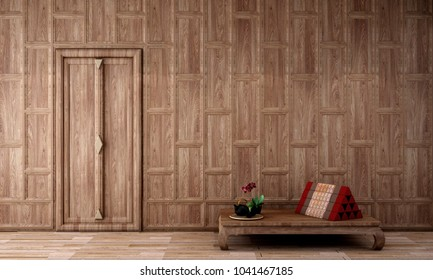 historical period drama scene,interior design in Thai style with wooden cap wall pattern and Thai triangle pillow on  wooden floor, 3d illustration,3d rendering