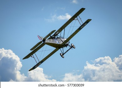 Historical plane Sopwith 1½ Strutter replica in flight